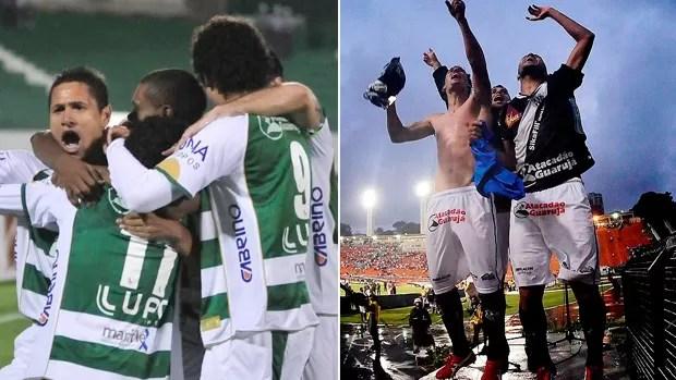 Jogadores de Guarani e Ponte comemoram vaga (Foto: Editoria de Arte/Globoesporte.com)