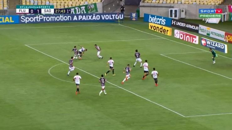 Ataque do São Paulo contra o Fluminense — Foto: ge