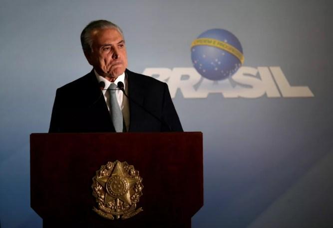 Michel Temer durante o pronunciamento no Palácio do Planalto no qual afirmou que não vai renunciar (Foto: Ueslei Marcelino/Reuters)