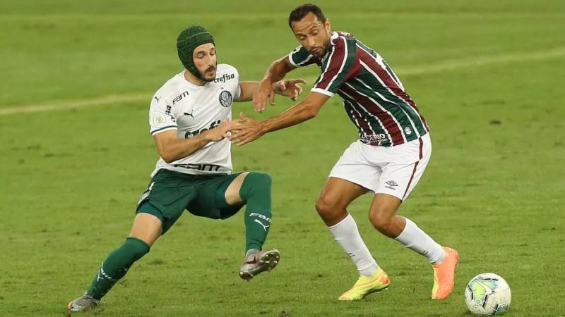 Matias Viña e Nenê Fluminense x Palmeiras — Foto: César Greco/Ag. Palmeiras