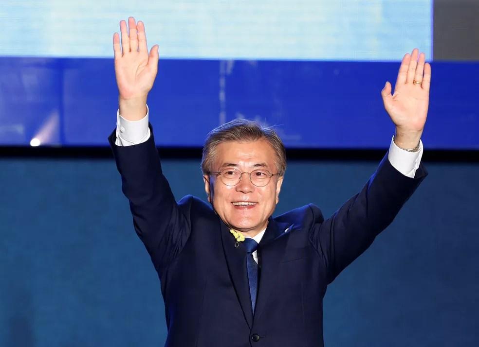 Moon Jae-in celebra vitória na eleição para president da Coreia do Sul  (Foto: Kim Kyunghoon/Reuters)