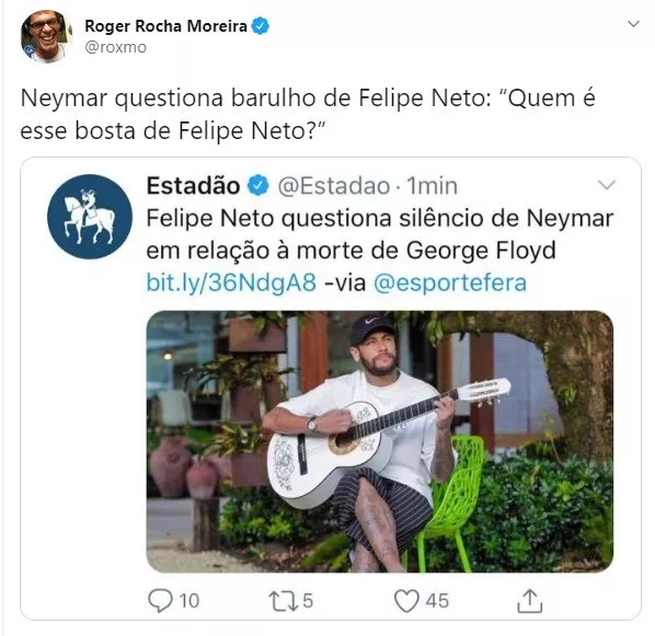 Roger Moreira em tweet na manhã de segunda (1)  (Foto: Reprodução/Twitter)