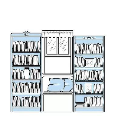 As estantes e o banco no entorno da janela formam um cantinho de leitura charmoso (Foto: Ilustração Evandro Bertol)