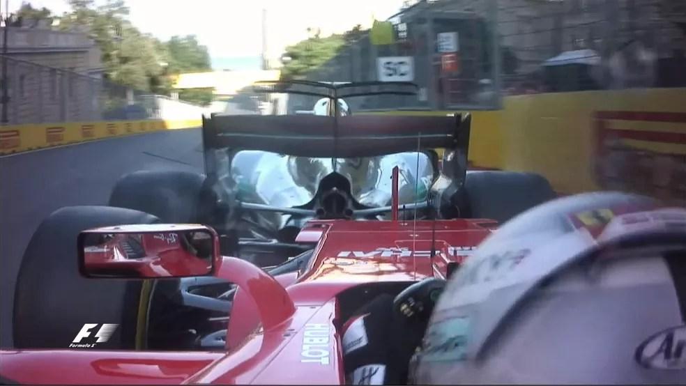 Vettel e Hamilton batida F1 GP de Baku Azerbaijão (Foto: Reprodução/F1)