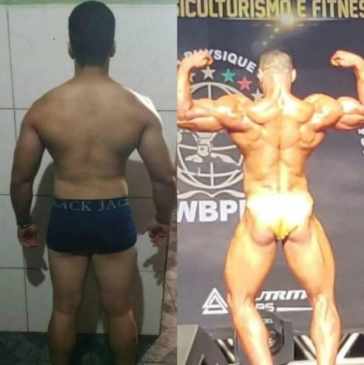 Evolução do atleta Leandro Farias em 7 meses de preparação (Foto: Arquivo pessoal)