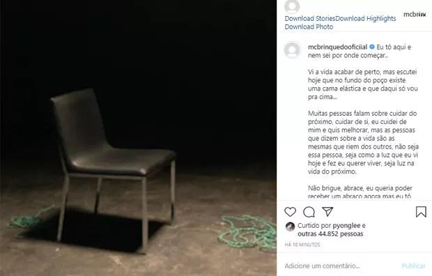 MC Brinquedo posta após story misterioro (Foto: Reprodução/Instagram)