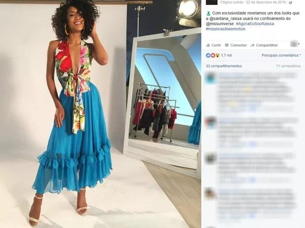 Um dos modelos que a Miss Brasil 2016, Raissa Santana, vai usar no confinamento do Miss Universo (Foto: Reprodução/Facebook)