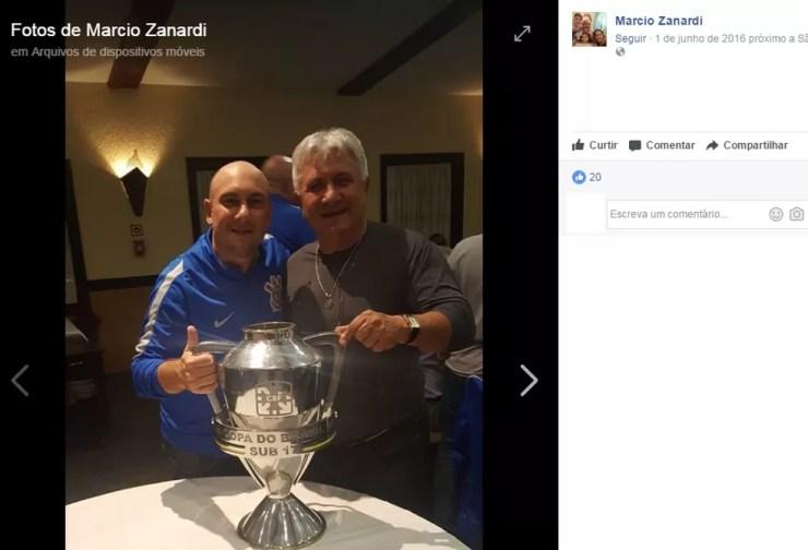 Marcio Zanardi, ex-técnico do sub-17 do Corinthians, e Wilson Zaponi, pai dele (Foto: Reprodução/Facebook)