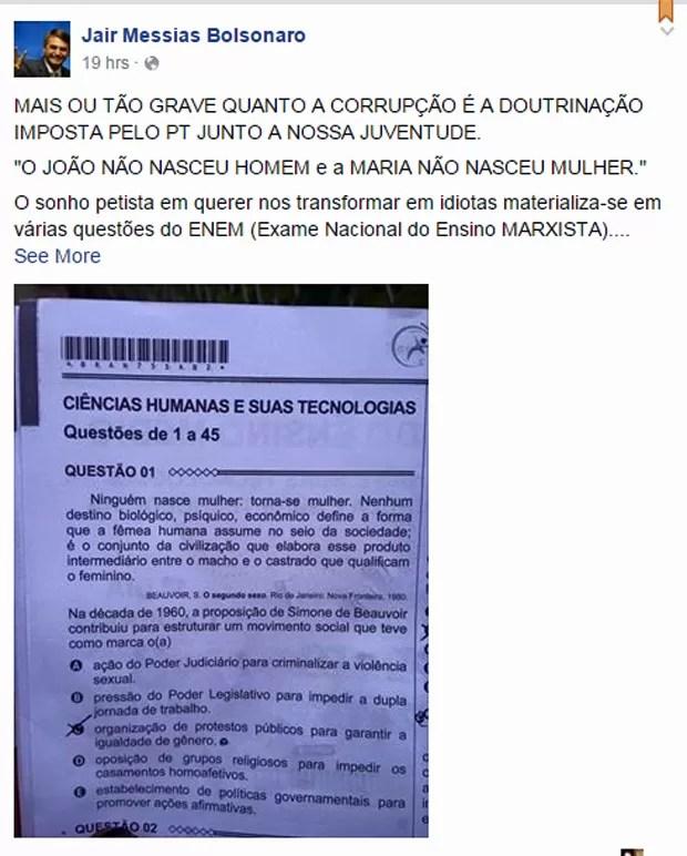 O deputado Jair Bolsonaro acusou o governo de fazer 'doutrinação' na prova do Enem 2015 (Foto: Reprodução/Facebook)