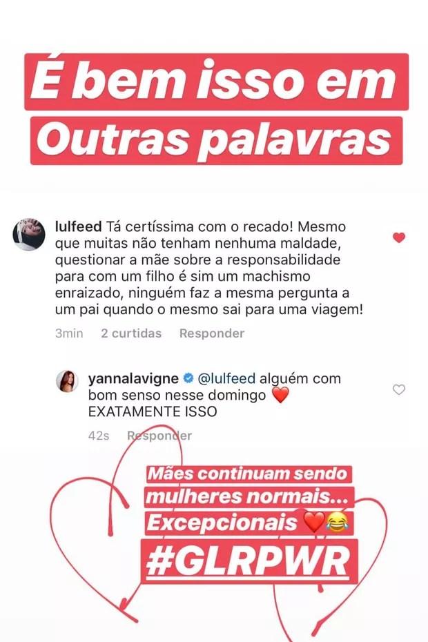 Yanna Lavigne reclama de questionamentos sobre Madalena durante viagem (Foto: Reprodução/Instagram)