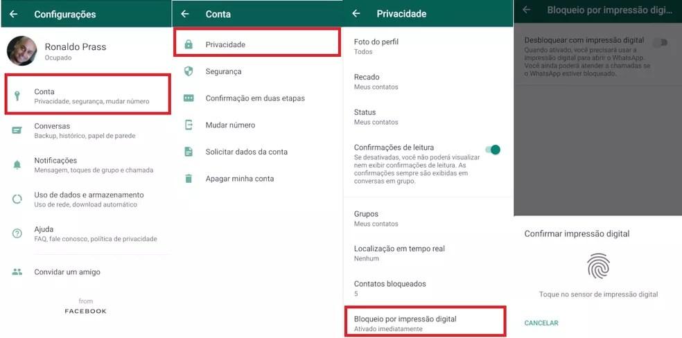 Acesso ao WhatsApp por biometria também foi novidade de 2019 — Foto: Reprodução