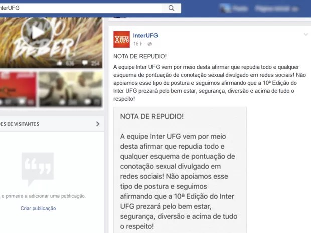 Organização do interUFG divulga nota de repúdio nas redes sociais (Foto: Reprodução/ Facebook)