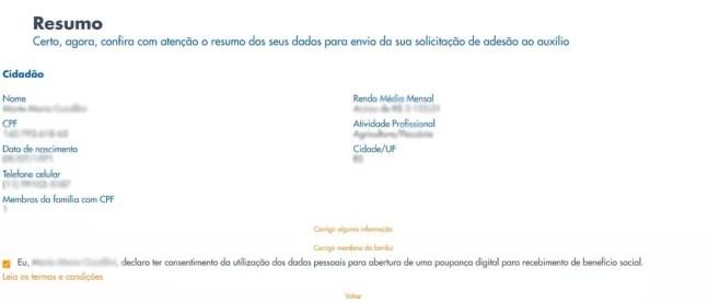 Página de cadastro para recebimento do auxílio emergencial de R$ 600 — Foto: Reprodução