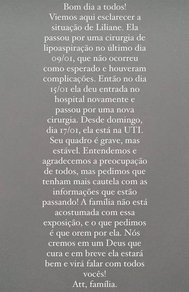 Influencer Liliane Amorim está internada em estado grave após lipoaspiração (Foto: Reprodução / Instagram)