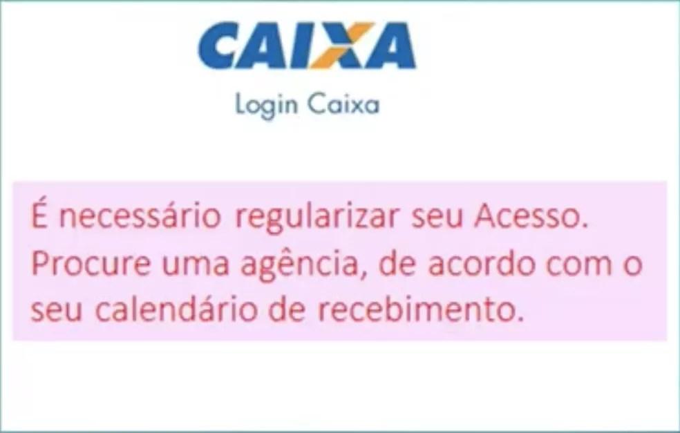 Tela que indica bloqueio de conta no app Caixa Tem — Foto: Divulgação/CAIXA