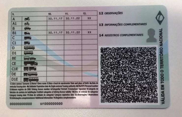 Parte traseira da nova CNH que será implantada até 2019 — Foto: Divulgação/Denatran