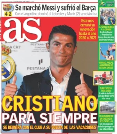 Cristiano Ronaldo capa jornal (Foto: Reprodução)