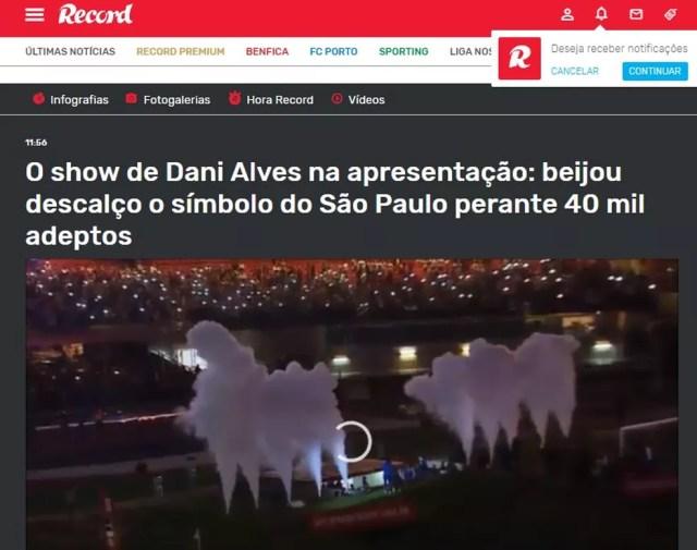 Daniel Alves no Record, de Portugal — Foto: Reprodução