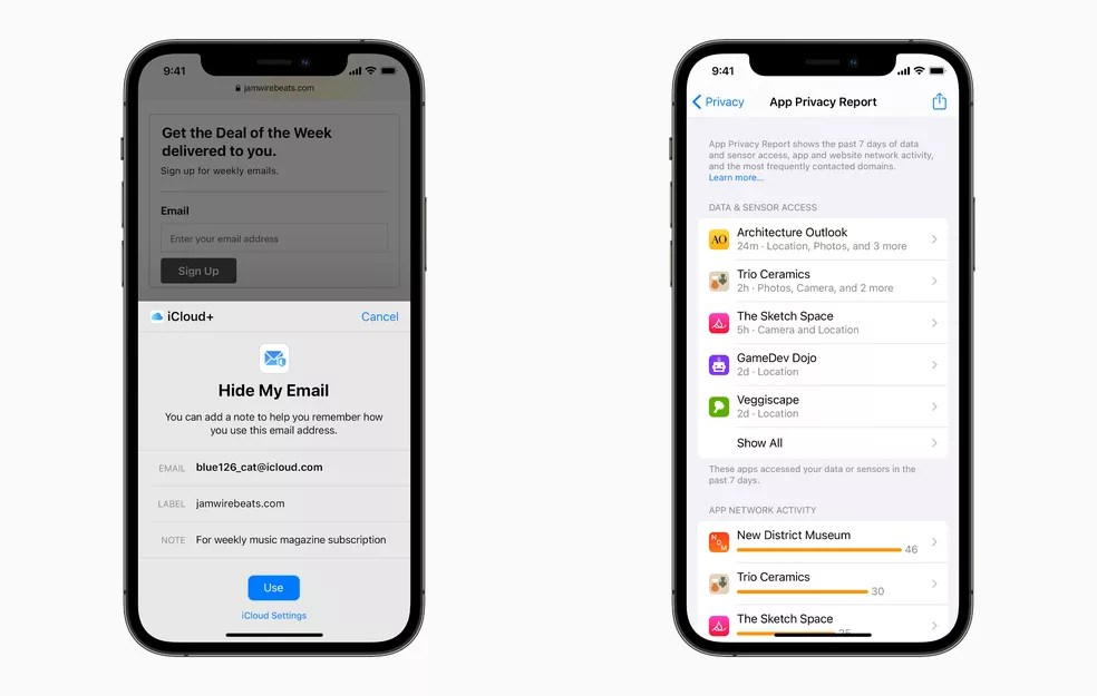Recursos de privacidade do iOS 15. — Foto: Divulgação/Apple