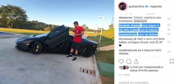 """Internautas reagem ao ver carro de R$ 4,3 de Gusttavo Lima: """"Batmóvel"""" (Foto: Reprodução / Instagram)"""