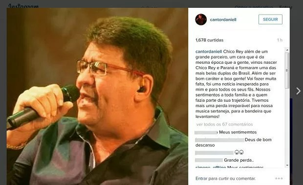Cantor Daniel lamentou no Instagram morte do colega sertanejo (Foto: Reprodução/Instagram)