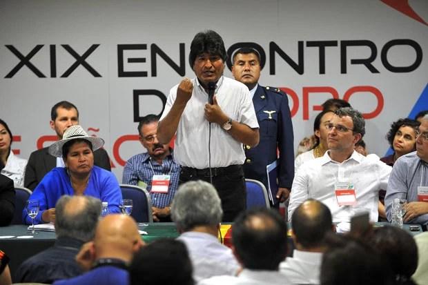 O presidente da Bolívia Evo Morales faz o discurso de encerramento do 19º Encontro do Foro de São Paulo. (Foto: Nelson Almeida/France Presse)