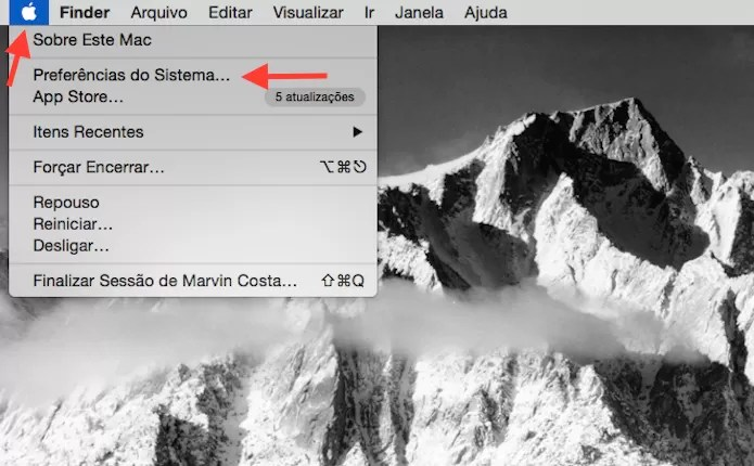 Acessando as configurações do Mac OS X (Foto: Reprodução/Marvin Costa)