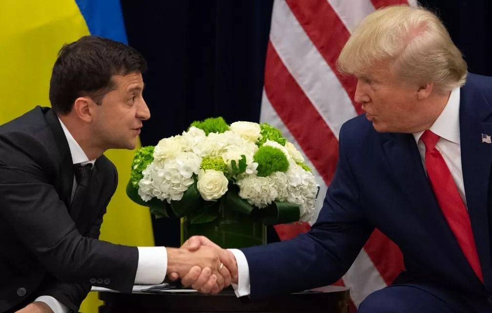 Volodymyr Zelensky e Donald Trump durante encontro em Nova York, em 25 de setembro de 2019 — Foto: Saul Loeb / AFP