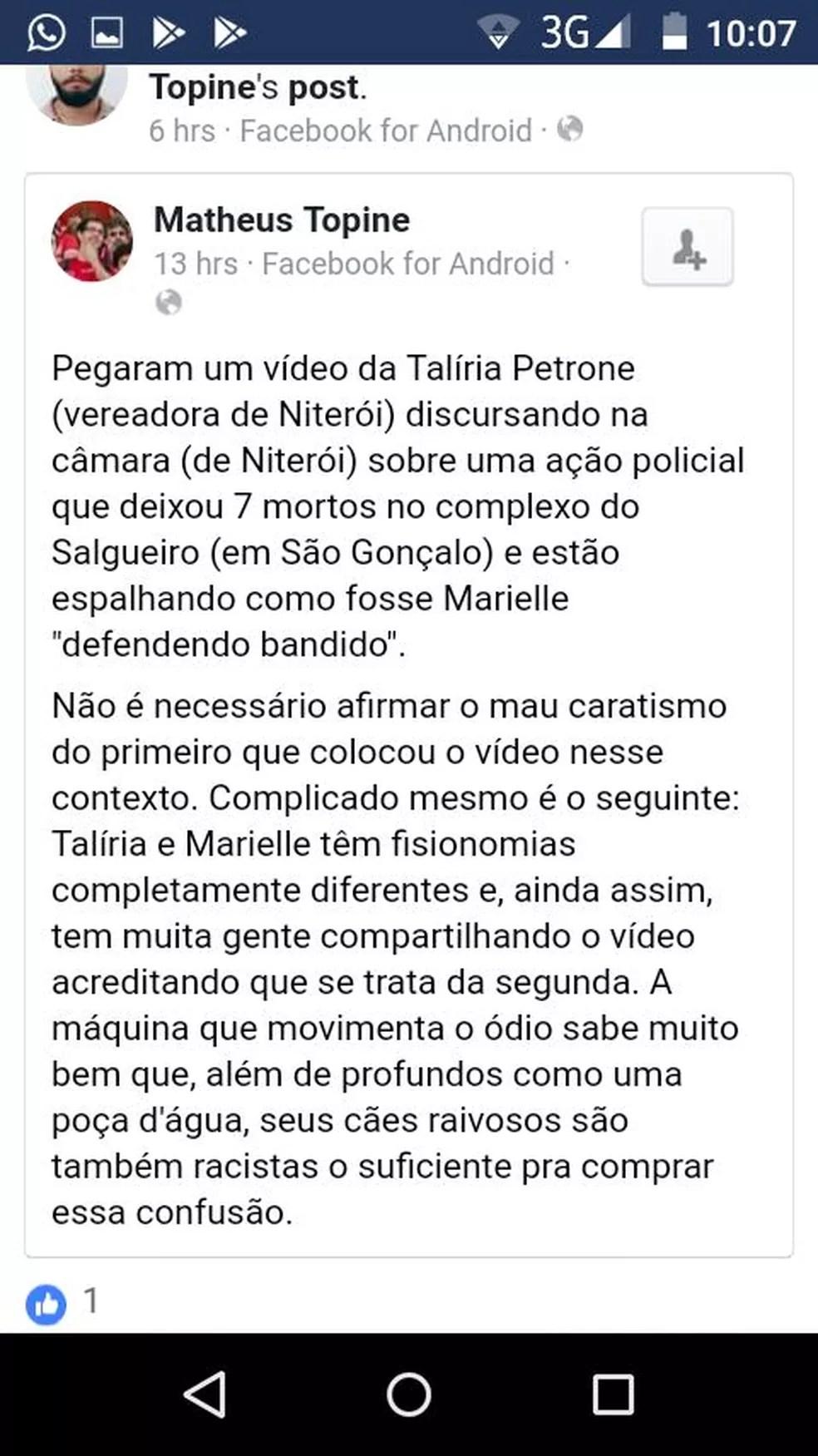 """Usuário do Facebook reclama de """"mau caratismo"""" em mensagem compartilhada (Foto: Reprodução/Facebook)"""