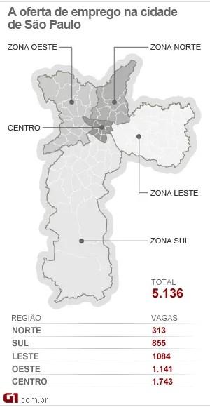 Mapa de empregos de São Paulo 04-07 (Foto: Arte/G1)