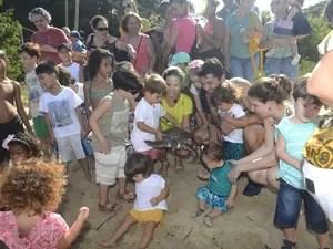 Soltura de tartaruga contou com a presença de crianças e adultos no espírito santo (Foto: Vitor Jubini/A Gazeta)
