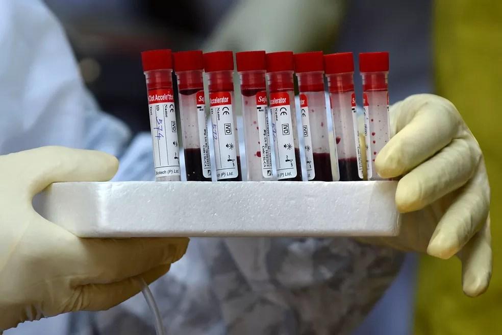 Tubos guardam amostras de sangue para testes de Covid-19, doença provocada pelo novo coronavírus, em Colombo, capital do Sri Lanka, na segunda-feira (4)  — Foto: Lakruwan Wanniarachchi / AFP