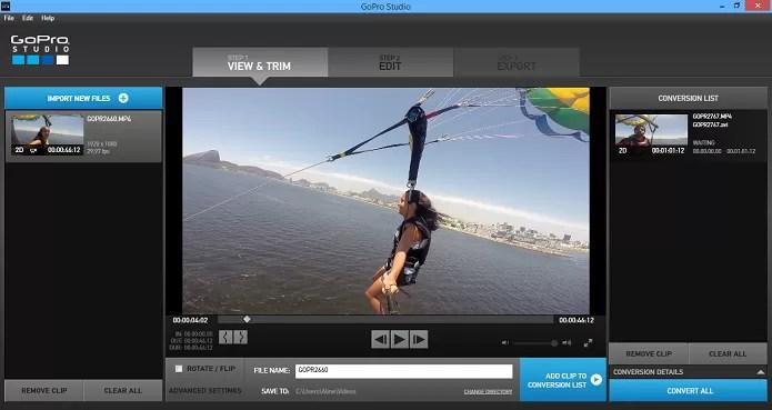 Importe o vídeo para o GoPro Studio (Foto: Reprodução/Aline Jesus)
