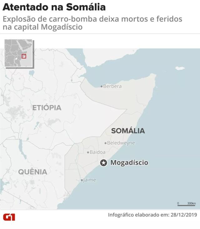 Local do atentado na Somália — Foto: Juliane Souza/G1