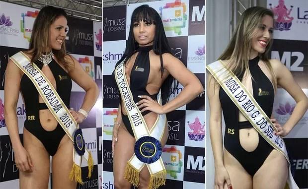 Candidatas Musa do Brasil: Adriana Dornelles, Roraima | Cassia Mello, Tocantins | Estefania Ansolin, Rio Grande do Sul (Foto: Divulgação)