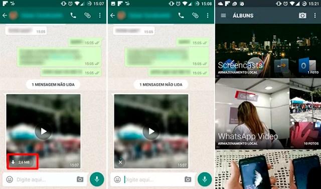 WhatsApp salva vídeo na galeria do usuário que não quiser assistir na hora (Foto: Reprodução/Elson de Souza)