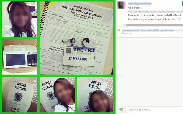 Mulher identificada como mesária tira várias fotos dentro da seção eleitoral, incluindo da urna e das folhas de votação (Foto: Reprodução/Instagram)