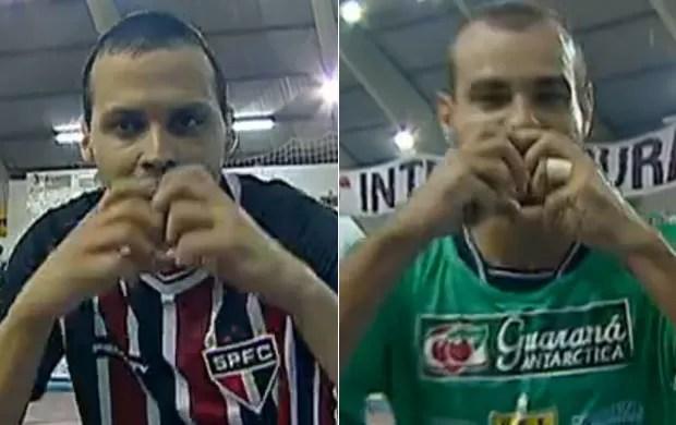 Guerra, do São Paulo, e Júnior, do Rio Preto, comemoram gols na Liga Paulista (Foto: Reprodução SporTV)