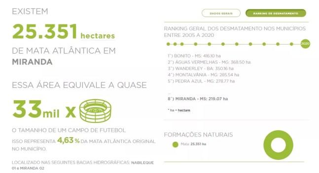 Miranda (MS) está em 8º lugar no ranking de cidades que mais desmata o bioma no Brasil.  — Foto: SOS Mata Atlântica/Reprodução