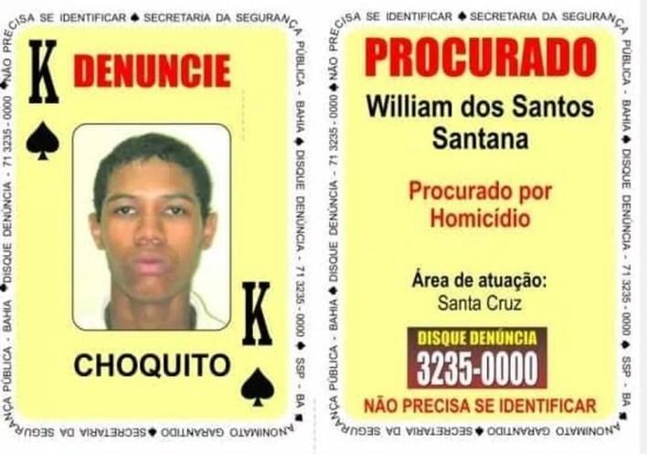 Suspeito de matar PM estava no Baralho do Crime — Foto: Divulgação/SSP