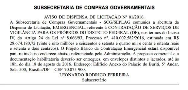 Aviso de contratação emergencial para vigilância no governo do Distrito Federal, publicado nesta quinta (Foto: Reprodução)