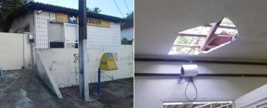Criminosos invadiram a agência pelo teto (Foto: Divulgação/PM)