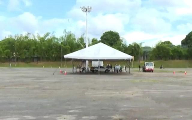 Espaço onde eram realizados os shows do São João em Camaçari também é usado como ponto de vacinação contra Covid-19 — Foto: Reprodução/TV Bahia