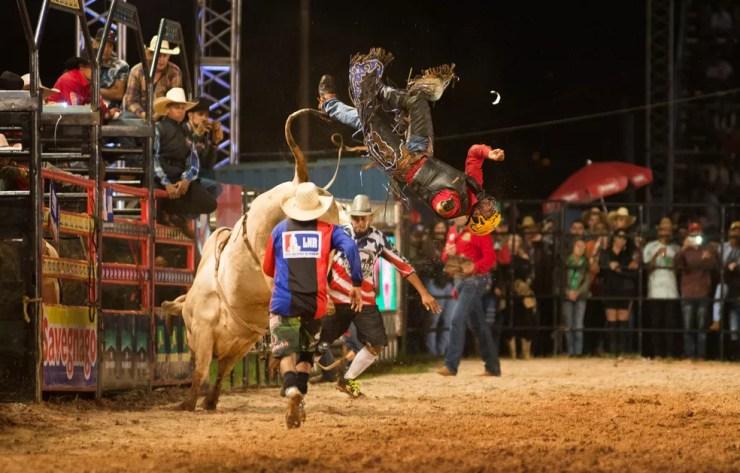 Pedro Junior bateu a cabeça no cumpim do touro e foi lançado pelo animal no Ribeirão Rodeo Music 2017 (Foto: Érico Andrade/G1)