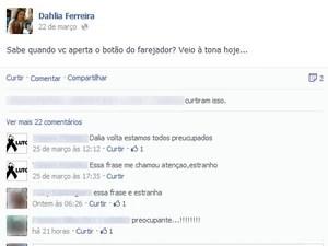 Última postagem de Dhalia Ferreira (Foto: Reprodução/Facebook)