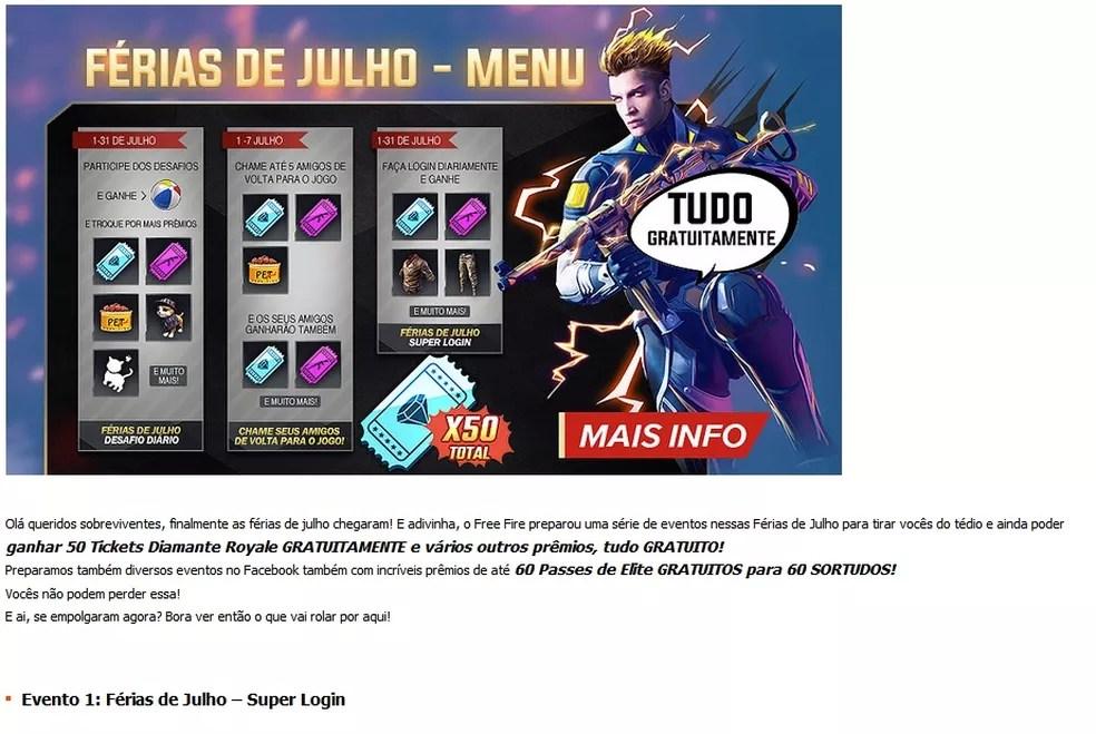 Todo evento em Free Fire premia os jogadores com itens e skins — Foto: Reprodução/Carlos Palmeira