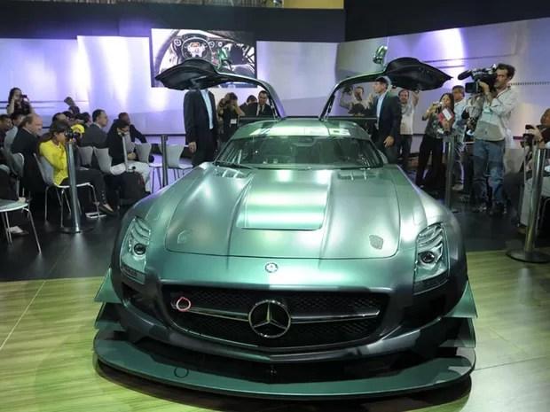 Mercedes-Benz faz estreia mundial do SLS GT3 45th no Salão de São Paulo. Evento começa para a imprensa nesta (22), com cobertura do G1. Para o público, visitação será a partir desta quarta (24), às 14h. (Foto: Flavio Moraes/G1)