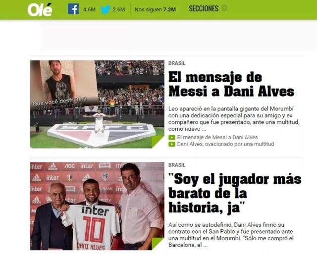 Daniel Alves em destaque no Diário Olé — Foto: Reprodução