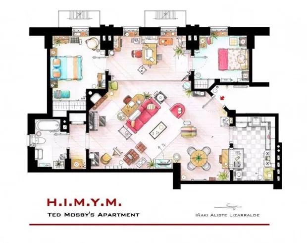 Apartamento de Ted Mosby, da série How I Met Your Mother (Foto: Nikneuk)