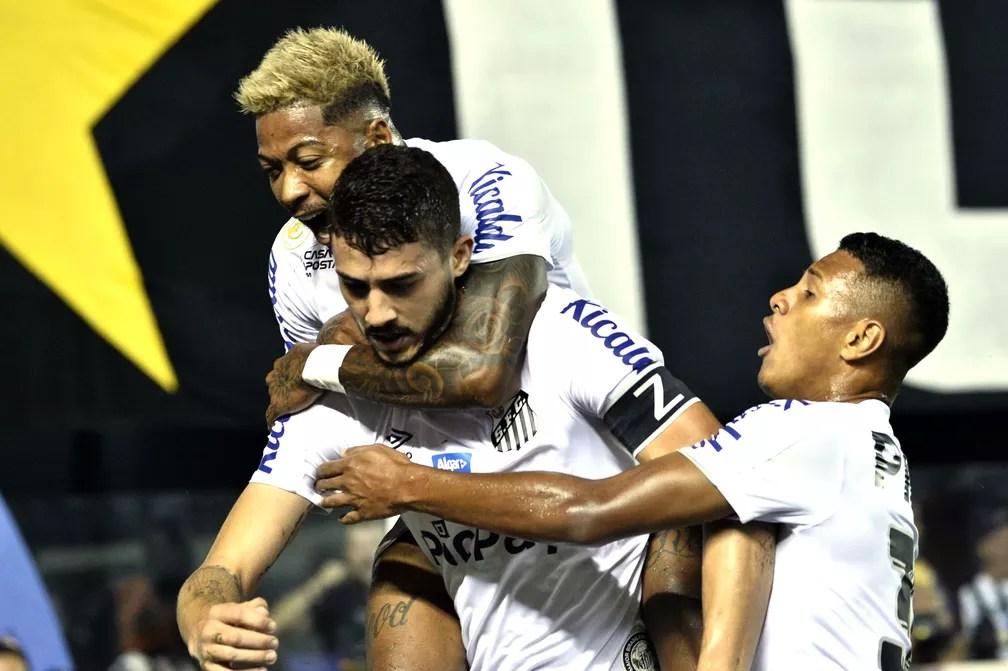 Gustavo Henrique comemora o primeiro gol do Santos x Palmeiras — Foto: Marcos Ribolli